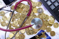 Composition of stethoscope on the money Stock Photography