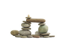 The composition of the stone pebbles, isolated Royalty Free Stock Images