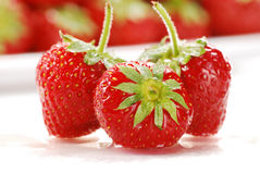 Composition with strawberries. On white background Royalty Free Stock Image
