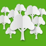 Composition of stylized white paper trees Royalty Free Stock Photos