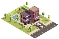 Composition suburbaine isométrique en villa illustration de vecteur