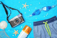Composition with summer accessories royalty free stock photo
