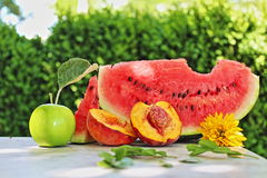 Composition summer. A composition with summer fruits Stock Photo