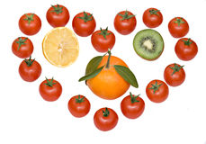 Composition symbolising love for fruits Stock Image