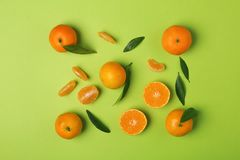 Composition with tangerines and leaves royalty free stock photo