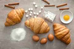 Composition with tasty croissants Royalty Free Stock Photo