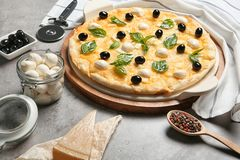 Composition with tasty homemade pizza. On table royalty free stock photography