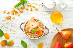 Composition with tasty oatmeal Stock Image