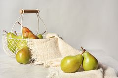 Composition with tasty ripe pears royalty free stock image