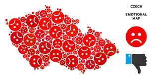 Composition tchèque de carte de Dolor de vecteur d'Emojis triste illustration stock