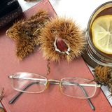 Composition. Tea with lemon, a closed book, glasses and chestnuts stock image