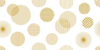 Golden circles. Wide panoramic seamless pattern with abstract geometric shapes. Royalty Free Stock Photo