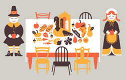 Composition with thanksgiving dinner Royalty Free Stock Images