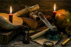 Composition on a theme marine adventures and trips. Objects under old times on a wooden background royalty free stock photo