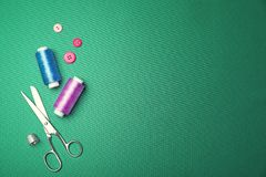 Composition with threads and sewing accessories Stock Photography