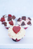 Composition of three cupcakes for Valentines day Royalty Free Stock Photo