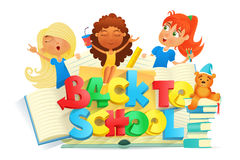 Composition with three girls. Back to school concept Royalty Free Stock Images