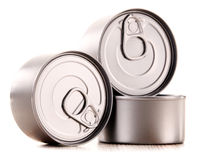 Composition with three metal cans on white Royalty Free Stock Photography