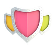 Composition of three shields isolated Stock Photography