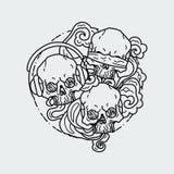 Composition of three skulls. Vector illustration of black and white tattoo graphic human skull. Lined symbol vector illustration