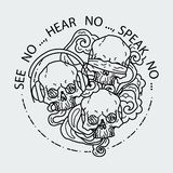 Composition of three skulls. Vector illustration of black and white tattoo graphic human skull. See no, hear no, speak no. Composition of three skulls. Vector stock illustration