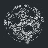 Composition of three skulls. Vector illustration of black and white tattoo graphic human skull. See no, hear no, speak no. Composition of three skulls. Vector royalty free illustration