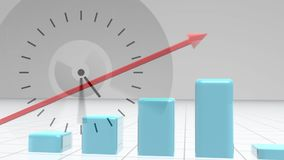 Composition of ticking clock against red arrow showing growth on blue bar chart coming up. Digital composite of ticking clock against red arrow showing growth on stock illustration