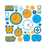 Composition with time symbols. Composition with time and clock symbols in a shape of square royalty free illustration