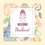 Composition tirée par la main de la Thaïlande Images stock