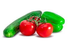 Composition of tomatoes, cucumber and bell pepper Stock Image