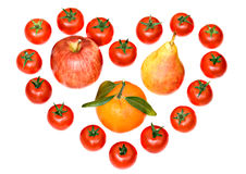 Composition of tomatoes and fruits Royalty Free Stock Photos