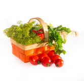 Composition with tomatoes and herbs Stock Photo