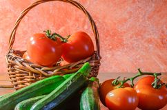 Composition with tomatoes and zucchini royalty free stock photo