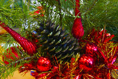 Composition of toys and Christmas tree. Close-up of decorations of toys and Christmas tree with glitter stock photos