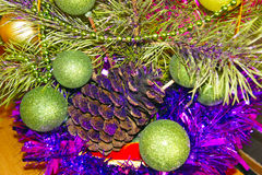 Composition of toys and Christmas tree. Close-up of decorations of toys and Christmas tree with glitter Royalty Free Stock Images
