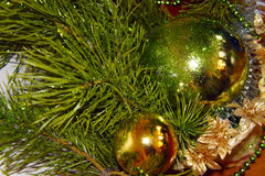 Composition of toys and Christmas tree. Close-up of decorations of toys and Christmas tree with glitter stock images