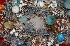 Composition of toys and Christmas tree. Close-up of decorations of toys and Christmas tree with glitter royalty free stock photo