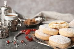 Composition with traditional cookies for Islamic holidays. Eid Mubarak. Composition with traditional cookies for Islamic holidays on table. Eid Mubarak royalty free stock photo