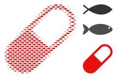 Composition tramée en granule de médicament de poissons illustration de vecteur