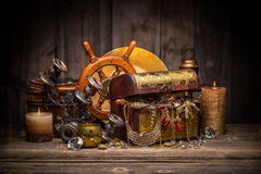 Composition of treasure chest Royalty Free Stock Photography