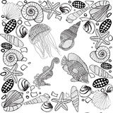 Composition of tropical fish, seahorse, jellyfish, shell, underw Stock Photo