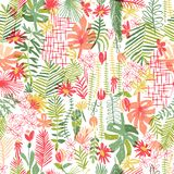 Composition tropicale en fleur, modèle sans couture illustration stock