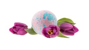 Composition of tulips and bath bomb stock image