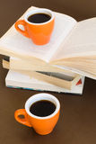 Composition of two coffee cups with books Stock Photo