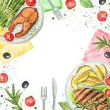 Watercolor composition with dishes, napkins, vegetables and tabl. Composition with two kinds of dishes, napkins, vegetables and tableware. Watercolor hand Stock Photo