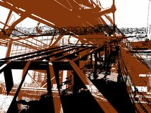 Composition of two modern bridges under construction in the area Oosterdok of Amsterdam City royalty free illustration