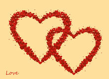 The composition of two red hearts. Valentine`s Day. Greeting card Royalty Free Stock Photos