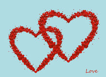 The composition of two red hearts. Valentine`s Day. Greeting card Stock Image