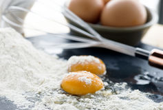 Composition of uncooked eggs Stock Photography