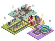 Composition urbaine en Infographic de bâtiments illustration libre de droits
